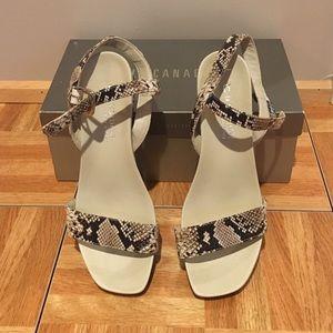 Snake skin print wedge sandals